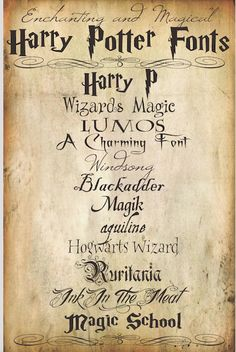 Harry Potter Party Ideas - Harry Potter Fonts