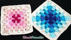 Point Granny Au Crochet, Crochet Square Blanket, Crochet Blocks, Crochet Squares, Knitting Blogs, Knitting For Beginners, Knitting Patterns, Crochet Motifs, Crochet Stitches
