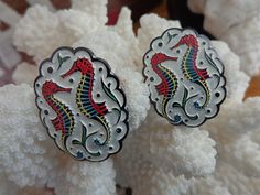 World War II Era Seahorse 1940s clip earrings signed Germany Cream Blk emboss Art Deco image Eloxal lite weight