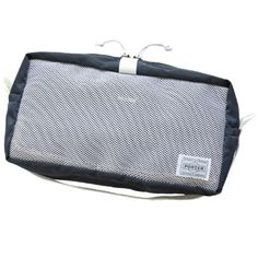 """Porter Stand Original Pouch (S). Ref : 384-09861. Size: W150/H130/D90. Color : Navy/White. PORTER STAND limited color edition of travel item series """"SNACKPACK"""", consist of pouches in various sizes, under the theme of packing. Offered in 4 types."""