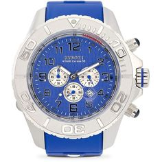 KYBOE! Stainless Steel Chronograph Watch ($370) ❤ liked on Polyvore featuring men's fashion, men's jewelry, men's watches, apparel & accessories, blue, mens blue watches, mens stainless steel watches, mens white dial watches and mens chronograph watches