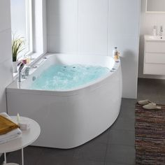 1443052 Hafa Aqua 160 L/R Duo Badekar mm, Høyre, Upgrade system Bathroom Plans, Bathroom Inspiration, Corner Bathtub, Relax, Outdoor Decor, Design, Home Decor, Sauna Ideas, Elegant