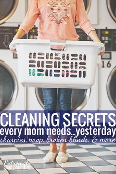 Mom cleaning hacks and cleaning tips for everything from broken blinds to tackling the toughest kid messes and laundry stains like poop, blood, and more.