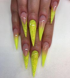 "3,393 Likes, 42 Comments - Angelina Rossi (@naglargoteborg) on Instagram: ""Reverse glitter smile och ombre med neon yellow #lillynails"""