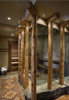 Современный деревянный душ.