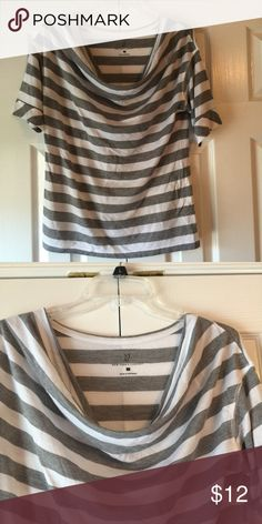 New York & Company striped top Cute charcoal and white striped top that is brand new without tags from a smoke free and dog friendly home. Never worn. New York & Company Tops Tees - Short Sleeve
