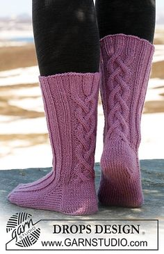 "Ravelry: 117-28 Socks with cables in ""Karisma"" pattern by DROPS design"