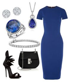 """blue"" by elvira-8390 ❤ liked on Polyvore featuring Blue Nile, Victoria Beckham, Giuseppe Zanotti and Chloé"