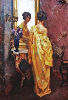 Wilhelm Hempfing (German painter, Yellow Robe Japonisme is the influence of Japanese art, fashion, & aesthetics on Western . Woman Painting, Figure Painting, Arte Fashion, Art Japonais, Mirror Art, Art Themes, Beautiful Paintings, Figurative Art, Japanese Art