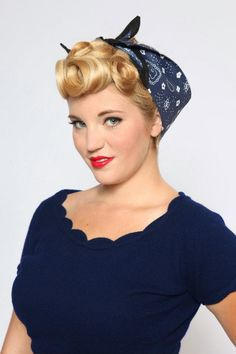 Trend Hairstylel Hairstyles with bandana your self some outdated Hollywood glamour with these straightforward retro hairstyles. Wearing an updo with a bandana provides contact of classic . Bandana Hairstyles, Retro Hairstyles, Wedding Hairstyles, Pin Up Hair, My Hair, Curly Hair, Pinup, Blond, Mode Pin Up
