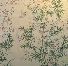 """SY-209 Handpainted Chinese scenic panel created in the same manner as those produced in the 18th and 19th centuries. Two panels shown. SIZE: Each Panel is 3' Wide x 10' High, Design height 7'6"""""""