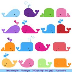 Whale Clipart Whale Clip Art Commercial and Personal by PinkPueblo, $6.00