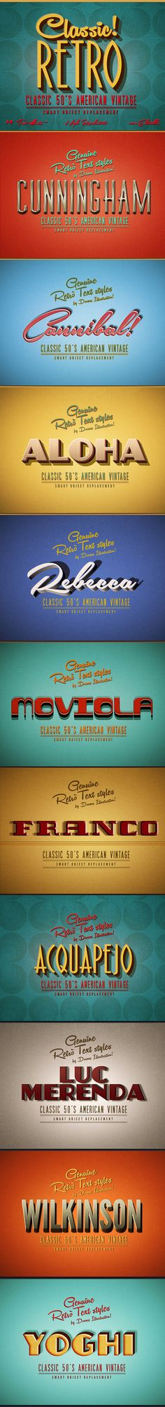 Classic American Vintage Retro Text Effects for Photoshop. Download here: http://graphicriver.net/item/retro-text-effects-classic-american-vintage-/8893761?ref=ksioks