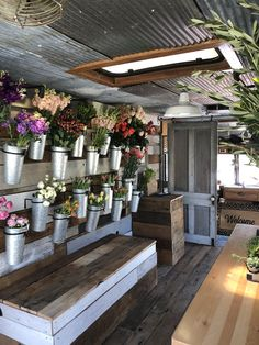 Eden's Flower Truck is Rogers, AR only walk-in mobile flower shop. Flower Shop Decor, Flower Shop Design, Flower Truck, Flower Bar, Flower Shop Interiors, Antique Booth Displays, Hygge, Flower Boutique, Flower Market
