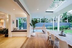 Multi-award winning architect designed home in Byron Bay with a complete transformation of the existing buildings into a modern luxury 4 bedroom house and studio Small Backyard Design, Patio Design, House Design, Residential Architect, Architect Design, Home Design Plans, Home Interior Design, House Makeovers, Outdoor Living Rooms