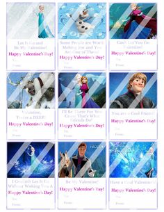 Disney Frozen Valentines Day Cards Sheet #5 (instant download or printed)