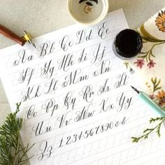 My Five Favorite Calligraphy Inks – The Postman's Knock Crayola Calligraphy, Calligraphy Worksheet, Brush Pen Calligraphy, Calligraphy Nibs, Calligraphy Tutorial, Calligraphy Practice, Lettering Tutorial, Modern Calligraphy, Hand Lettering