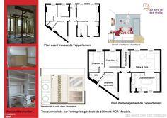 Plans d'appartement avant et après.