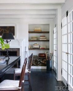 like the contrast of hardwood shelves w/white.  elle décor