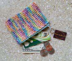 Pastel Multicolor Coin Purse  - credit card holder Crochet w/zipper by DesignsbyMissJP on Etsy