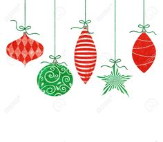 Five Cute Retro Christmas Ornaments Hanging By Green String Stock Photo Picture And Royalty Free Image 23019617