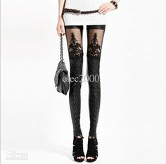 Not sure if it's the pant or the stockings for sale, but I like the look...Wholesale Sexy Black Goth Punk Leather Lace Leggings Treggings Pants Shiny Tights Stretch Comfortable, Free shipping, $11.99~18.88/Piece | DHgate Mobile