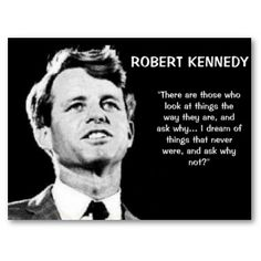 There are those who look at things the way they are, and ask why... I dream of things that never were, and ask why not? - Robert F. Kennedy