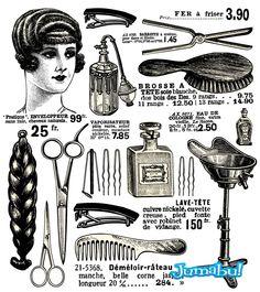 Tijeras, Cepillos, Material Peluquería Retro en Vectores