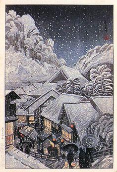Yufuku Hot Spring, Iwami  by Kazuma Oda, 1925  (published by Watanabe Shozaburo)