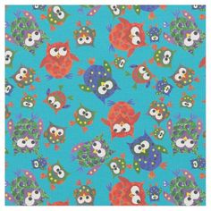 A fun fabric with a seamlessly repeating pattern of cute owls in red, blue, green on a turquoise background which you can easily change if you wish. The owl motifs are from an original handpainted paper collage design by Judy Adamson, part of the Posh and Painterly 'Owls' collection: up to $27.95 - http://www.zazzle.com/cute_owls_on_turquoise_fabric_to_customize-256075578203909739?rf=238041988035411422&tc=pintw