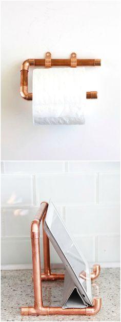 DIY con tubos de cobre. Visto en www.ecodecomobiliario.com                                                                                                                                                                                 Más