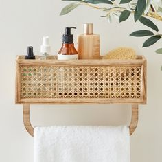 Perfect for compact living, this towel rail keeps your bathroom neat and tidy. With a natural design this French Cane Towel Rail is space saving and made from easy to clean rattan. The French Cane design makes this towel rail shelf stylish and modern. Bathroom Wall Shelves, Bathroom Bin, Boho Bathroom, Bathroom Renos, Bathroom Interior, Bathrooms, Bathroom Ideas, Towel Shelf, Towel Rail