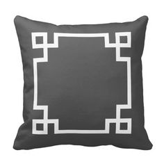 Charcoal Gray and White Greek Key Throw Pillow