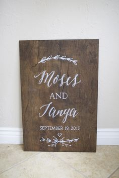 """20x30"""" Dark Stained Plywood Welcome Sign -  used for engagement party, bridal shower, and wedding"""
