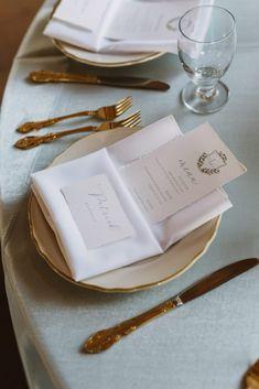 Torn edge wedding menu, crest wedding menu, blue and white wedding, gold wedding, white scallop plate, simple wedding