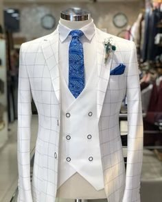 Wedding Suits Slim-Fit Plaid Suit White – BOJONI - Available Size : material : e viscose , 2 polyester , lycra Machine washable : No Fitting : slim-fit Remarks : Dry Cleaner Slim Fit Tuxedo, Slim Suit, Tuxedo For Men, White Tuxedo, Tuxedo Suit, Prom Tuxedo, White Plaid, Dress Suits For Men, Suit And Tie