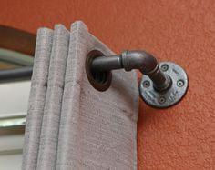 "Industrial Curtain Rod - Medium Industrial pipe curtain rod 49""- 96"" long - Industrial rod - custom curtain rod - window treatment - curtain"