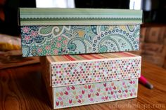 Pretty storage boxes from shoe boxes