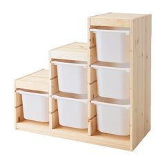 TROFAST Storage combination IKEA Several grooves allow you to place boxes/shelves where you want them. /Hmm I almost bought these on Craigslist, but I couldn't justify it before the move. I have an idea to turn these on their side for shelving upstairs. I need to inspect them in person to see if that would work. If so it is an inexpensive and customizable modular look for up there!