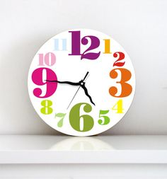 Wall clock Rainbow colorful typography kids decor christmas gift holiday decor nursery wall art children's room clock kitchen living room on Etsy, $49.00