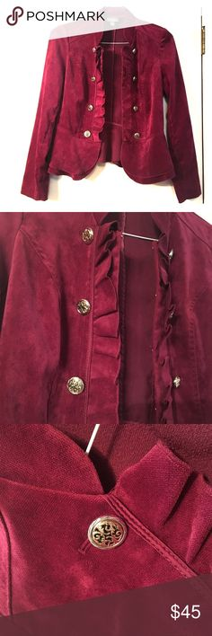Roz & Ali Maroon Blazer Roz & Ali Maroon Blazer - velvety suede material. Size S, great condition! Roz & Ali Jackets & Coats Blazers