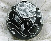 Rose MUD Ornament in Black with Rhinestone Bling