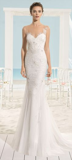 Mermaid-style beaded tulle dress with sweetheart neckline and extra-low back, in natural.