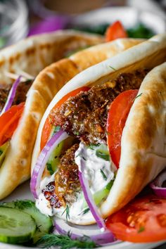 Greek Gyro Recipe with Homemade Gyro Meat from The Food Charlatan Meat Recipes Meat Recipes Meat Recipes Meat Recipes Beef Gyro, Lamb Gyros, Greek Recipes, Pork Recipes, Cooking Recipes, Greek Meals, Turkish Recipes, Donair Meat Recipe, Gourmet