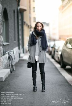 ootd street style leather pants black leather pants navy scarf
