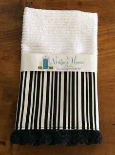 Kitchen Towel - Black and White Stripe