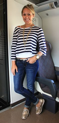 Wore something very similar a couple days ago....wasn't sure abt it, but received so many compliments! Also- gold boat shoes, yes.