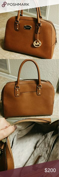 Michael Kors Saffiano Leather Satchel - Brown Was only ever used for special occasions, so about 5 times. In beautiful condition :)  Purchased at a Michael Kors store. 100% authentic. Michael Kors Bags Satchels