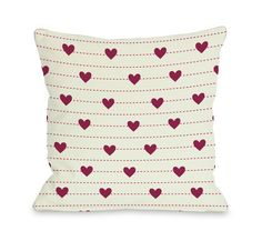 Hearts on a Line Throw Pillow