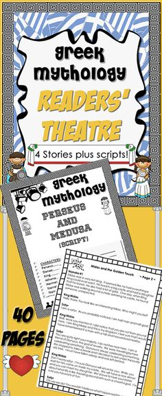 Greek Mythology Readers' Theater (theatre). Story summaries, scripts and more. Re-read while having fun! $